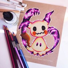 """2,706 Likes, 74 Comments - MARILYN MAE (@maeartistry) on Instagram: """"Hey friends! Here is the finished Mimikyu. This is an art trade with @remi.drawings ✨ I hope you…"""""""