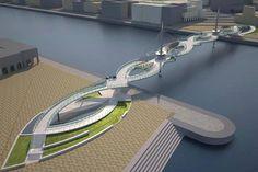 Lusail Pedestrian Bridges - Qatar/ of course America can't build this kind of stuff :( Bridge Structure, Best Holiday Destinations, Bridge Design, Pedestrian Bridge, Urban Furniture, Furniture Design, Retro Futurism, Modern House Design, Urban Design