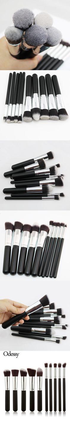 ODESSY 10Pcs Makeup Brushes Black Foundation Blending Blush Make up Brush Cosmetics Beauty tool Kit Set