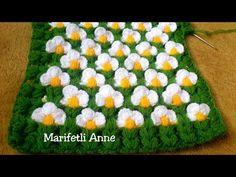 YEPYENİ LİF YAPIMI, NERGİS ÇİÇEKLERİ, ÇEYİZLİK LİF YAPIMI - YouTube Baby Knitting Patterns, Baby Patterns, Crochet Patterns, Crochet Beanie, Crochet Baby, Knit Crochet, Crochet Chart, Crochet Stitches, Crochet Videos