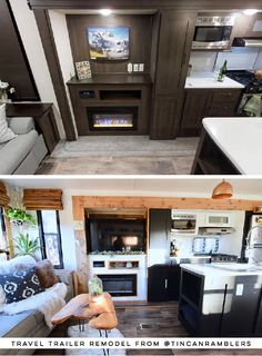 Tour this plant-filled travel trailer renovated with Southwestern vibes from See th Camper Renovation, Home Renovation, Rv Living, Tiny Living, Travel Trailer Remodel, Travel Trailers, Travel Trailer Decor, Airstream Trailers, Rv Travel