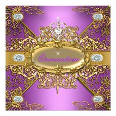 Elite Quinceanera Lilac Pink Gold Damask 15th Customizable Invitations by Zizzago.com