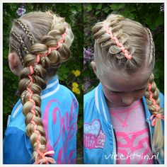 Three cornrows and a five strand braid with ribbon which I made for this lovely girl Ziza yesterday.
