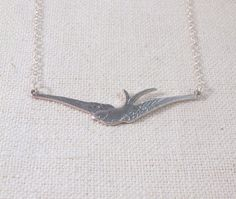Sterling Silver Bird Necklace Flying Swallow by TheBonnyBoutique