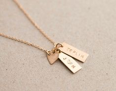 Simple, Minimal, Small Tag Necklace with a little Heart Tag. Choose the Number of Personalized tags for your necklace. Create a special,