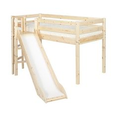Flexa Childrens Beds and Bedroom Furniture - Classic Mid-High Flexa bed with Platform and Slide - quality from Flexa available now