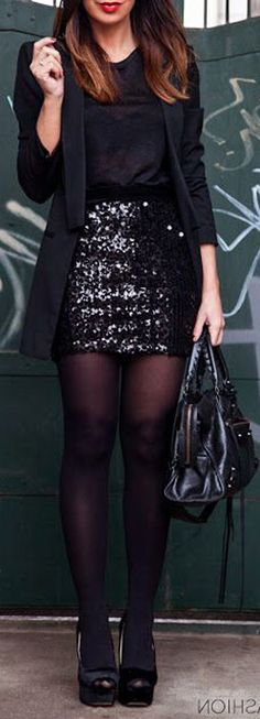 Comfy Casual Christmas Evening Party Outfit Ideas for New Years - Black Sequin Skirt - Blazer Jacket - Stockings - MyBodiArt.com