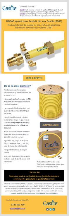 Țevi flexibile din inox pentru gaz Gastite® În România prin Jetrun SRL Romania
