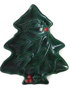 Vintage Lefton Christmas Tree Ceramic Plate With by PrimoTempo