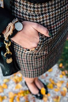 Multi-hued houndstooth and pearls for fall. #WhatWouldNancyWear