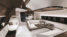 Mercedes-Benz has decided to raise the bar on luxurious private jets, teaming up with Lufthansa Technik for a showstopping private jet interior concept Jets Privés De Luxe, Luxury Jets, Luxury Private Jets, Private Plane, Yacht Design, Boat Design, Edge Design, Mercedes Benz, Mercedes Sprinter