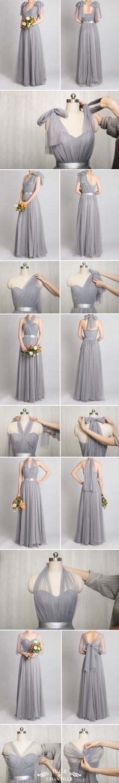 grey tulle convertible bridesmaid dress with tutorial -- perfect if you want each bridesmaid to look a little different or if you have a few who don't want to wear a strapless. Grey Bridesmaids, Grey Bridesmaid Dresses, Prom Dresses, Wedding Dresses, Grey Bridal Parties, Vestido Convertible, Dress Vestidos, Tulle Wedding, Mode Inspiration
