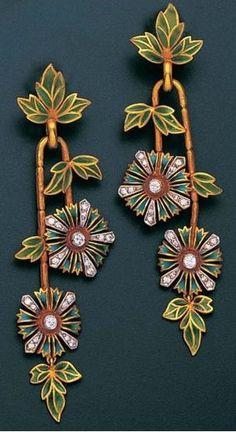 Earrings   Masriera. Plique-à-jour enamel and diamond. ca. 1950