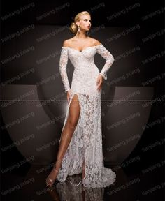 Pageant Evening Gowns | ivory Lace Bridal Gown Evening Prom Pageant dresses Long Sleeve