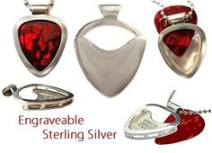 Engraveable Guitar pick necklace pendant by PICKBAY in .925 Sterling Silver ULTIMATE gift set on Etsy, $124.99