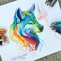 214- Colorful Wolf  I had to do something colorful for my first day back from the convention! 3 years ago to this day, I posted my first rainbow wolf that completely altered the course of my art forever!  Thank you for all of the support over the past year on IG and for the many many years of support on other social media sites! ❤️ #art #drawing #wolf #rainbow