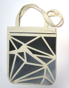 Hand Painted Tote Bag Eco Friendly Reusable by MusicalColorStudio, $30.00