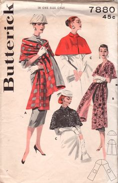 Butterick 7880 1950s Misses Quick and Easy Capelet and Stole Womens Vintage Sewing Patterns by mbchills