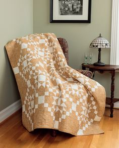 Contrast is what it's all about in this dramatic two-color quilt, called Caramel Latte, from the book Knockout Neutrals by Pat Wys.