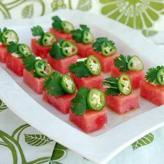 Watermelon salad w cilantro, feta, serrano chili and a vinaigrette.  Interesting!