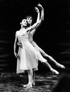 Ballet dancers Rudolf Nureyev & Margot Fonteyn dancing pas de deux in Royal Ballet's production of 'Pelleas & Melisande' at Covent Garden, London, England.