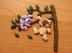 applicazione con orsetto e coniglietto (scena 1) fimo/cernit polimerclay handmade
