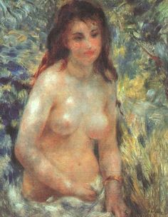 < 르누아르 '햇빛 속의 여인' (1876), 유화, 55 x 81cm > 르누아르가 인상주의 화가로서 진면목을 드러내고 있는 작품이다. 이 작품에서 르누아르는 이파리 사이로 들어온 빛으로 생긴 음영을 푸른색이나 흰빛으로 처리하는 지극히 인상주의적인 기법을 사용하고 있다. 시시각각 변화하는 대기의 움직임에 따라 변화하는 빛을 마치 붓으로 점을 찍듯 그려넣다 보면, 원래 그리고자 하는 대상의 완벽한 형태감, 즉 존재감은 옅어질 수 밖에 없는데 이 작품에서도 여인의 형태가 일그러져 있는 것을 알 수 있다.