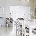 kitchens - crystal chandelier white dining chairs white parson dining table gray silk bergere chair  white dining room  White, modern dining