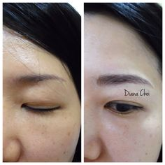 She had an old tattoo. It was very thin and a high arch with short length. I fixed it to straight, soft looking brows.