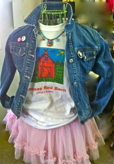 Our Red Barn Tshirt with Farm Beaded Necklace