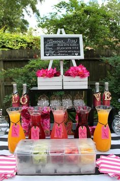 Kate Spade Theme Mimosa Wedding Drink Bar / www. Kate Spade Theme Mimosa Wedding Drink Bar / www. Drink Bar, Bar Drinks, Fruit Drinks, Beverages, Bar Mimosa, Bubbly Bar, Sangria Bar, Mimosa Brunch, Brunch Drinks