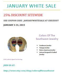 JANUARY WHITE SALE January 3 thru 31 2015 by colorsofthesouthwest
