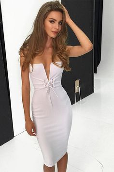 Sexy Spaghetti Strap Deep V Bandage Dress 26c4e4088b80