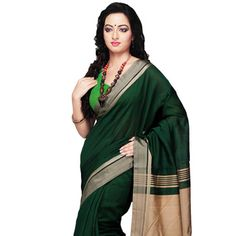 Green and Beige Cotton and Silk Bengal Handloom Saree with Blouse