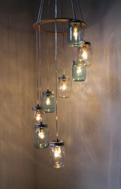 River Rain - Mason Jar Chandelier Hanging Pendant Swag Light Fixture Cascading Blue and Clear Glass Lights - BootsNGus Lamp Design