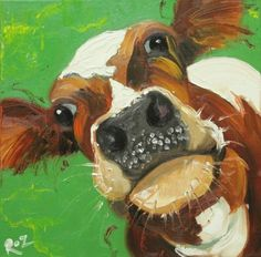 easy acrylic paintings of callas Animal Paintings, Animal Drawings, Art Drawings, Mini Paintings, Cow Painting, Painting & Drawing, Cow Pictures, Simple Acrylic Paintings, Acrylic Art