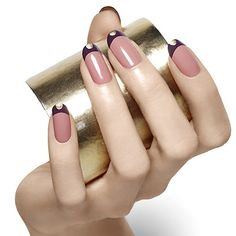 tipped+in+gold+by+essie - a+touch+of+gold+adds+luxe+detail+to+a+nail+art+look+that+takes+a+tip+from+elegant,+embellished+ballet+flats.