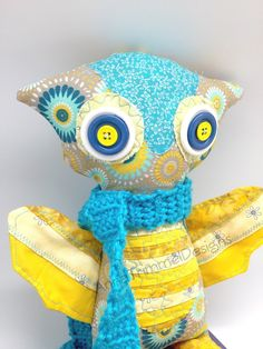 Yellow Owl Plushie handmade toy stuffed Owl by annatrimmeldesigns