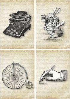 Vintage Labels free printable (typewriter, Alice in Wonderland, vintage bicycle, penmanship) Vintage Labels, Vintage Ephemera, Vintage Cards, Papel Vintage, Vintage Paper, Atc Cards, Journal Cards, Junk Journal, Vintage Prints
