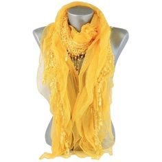 Lace Accent Boho Chic Yellow Scarf ❤ liked on Polyvore featuring accessories, scarves, lacy scarves, lace scarves, lace shawl, bohemian scarves and lacy shawl
