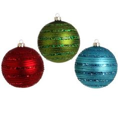 "RAZ Glittered Glass Ball Christmas Ornament Set of 3    3 Assorted colors  Set includes one of each style  Red, Green, Bluel  Made of Glass  Measures 4"", 4"", 4""    From the ""Santa"