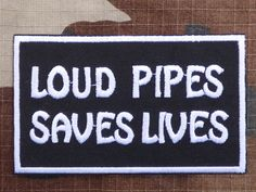 ECUSSON PATCH THERMOCOLLANT aufnaher toppa LOUD PIPES SAVES LIVES biker trike