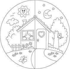 Carta da Parati in Vinile Casa di campagna giorno e notte da colorare per bambini. ✓ Installazione Semplice ✓ Rimborso Garantito 365 Giorni ✓ Guarda altri modelli da questa collezione!
