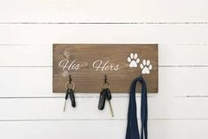 Key Hook, Dog Leash Holder, Dog Lovers, His and Hers, Entryway Organizer, Farmhouse Decor, Rustic Home Decor, Christmas Gift for Couple by CypressandWhim on Etsy https://www.etsy.com/listing/540259156/key-hook-dog-leash-holder-dog-lovers-his