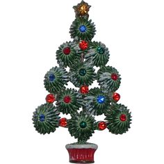 Hedy Starburst Snow-y Enameled Rhinestone Christmas Tree Pin, Book Piece - Hedy Starburst Snow-y Enameled Rhinestone Christmas Tree Pin, Book Piece