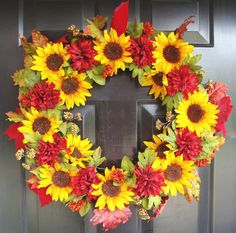 Fall Wreath- Fall Wreath for Door- Autumn Wreath- Sunflower and Mum