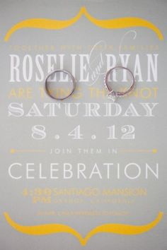 Modern gray, white and yellow wedding invitation - Photo by April Smith & Co.