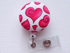 Cute pink hearts: Valentine's Day Red Heart with a CurlID Badge Reel (Retractable) | Meylah