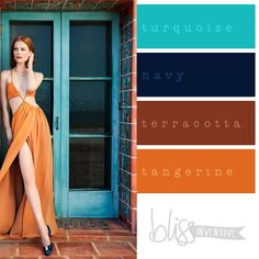 Beautiful combination. Turquoise, navy, terracotta, and tangerine.