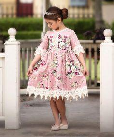 Trish Scully Child Pink Floral Rosalina A-Line Dress - Infant, Toddler & Girls Hi Low Dresses, Summer Dresses, Girly Girl, Infant Toddler, Toddler Girls, Lace Trim, Cute Girls, Vintage Inspired, Flower Girl Dresses